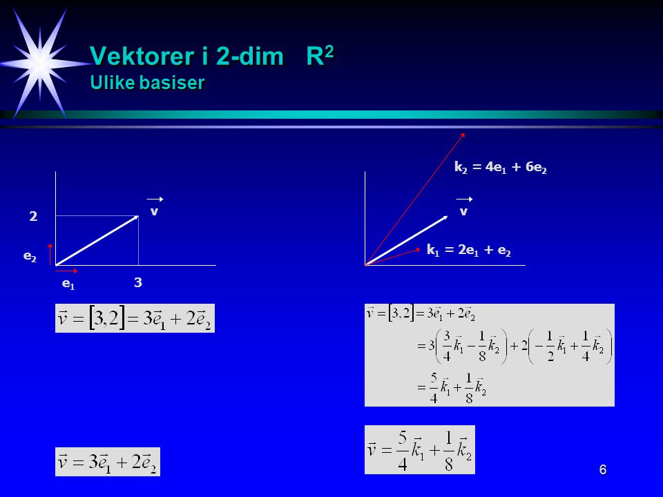 Vektorer i 2-dim R2 Ulike basiser