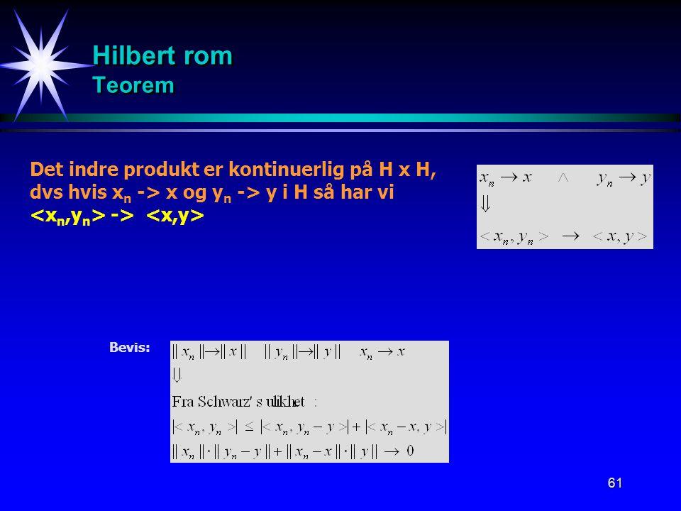 Hilbert rom Teorem Det indre produkt er kontinuerlig på H x H,
