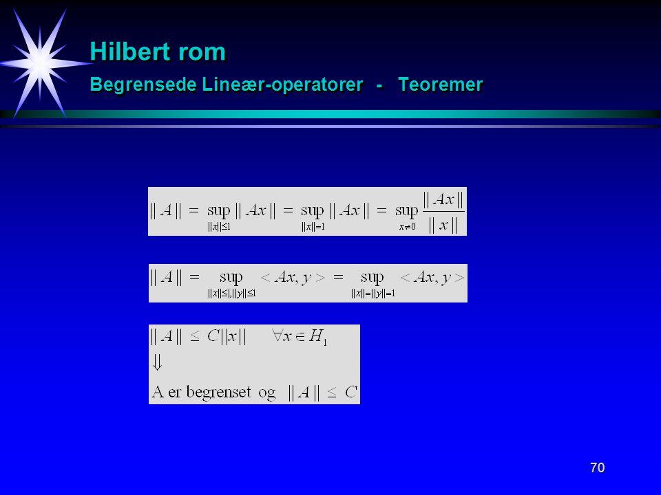 Hilbert rom Begrensede Lineær-operatorer - Teoremer