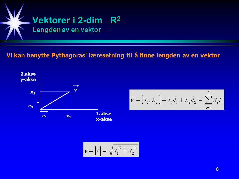 Vektorer i 2-dim R2 Lengden av en vektor