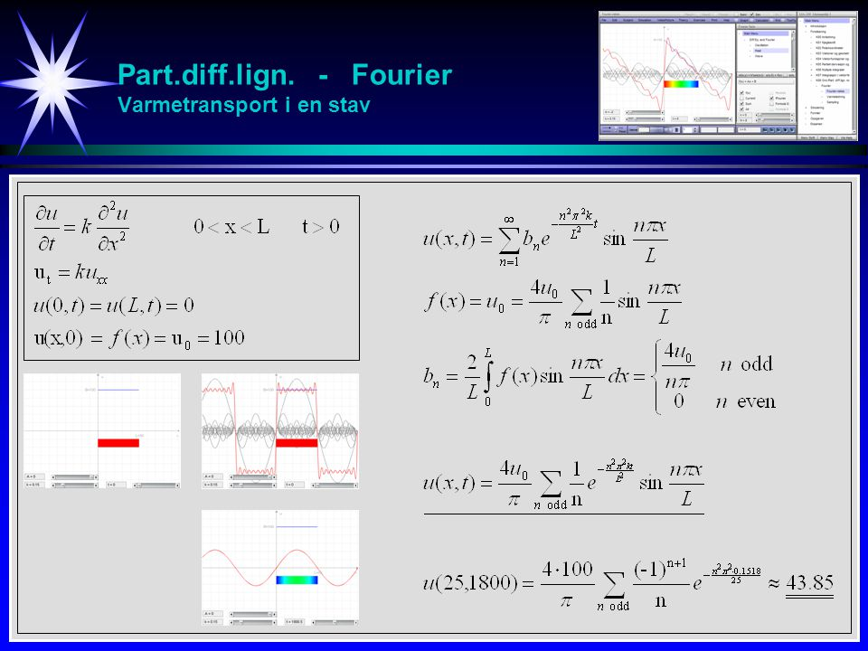 Part.diff.lign. - Fourier Varmetransport i en stav