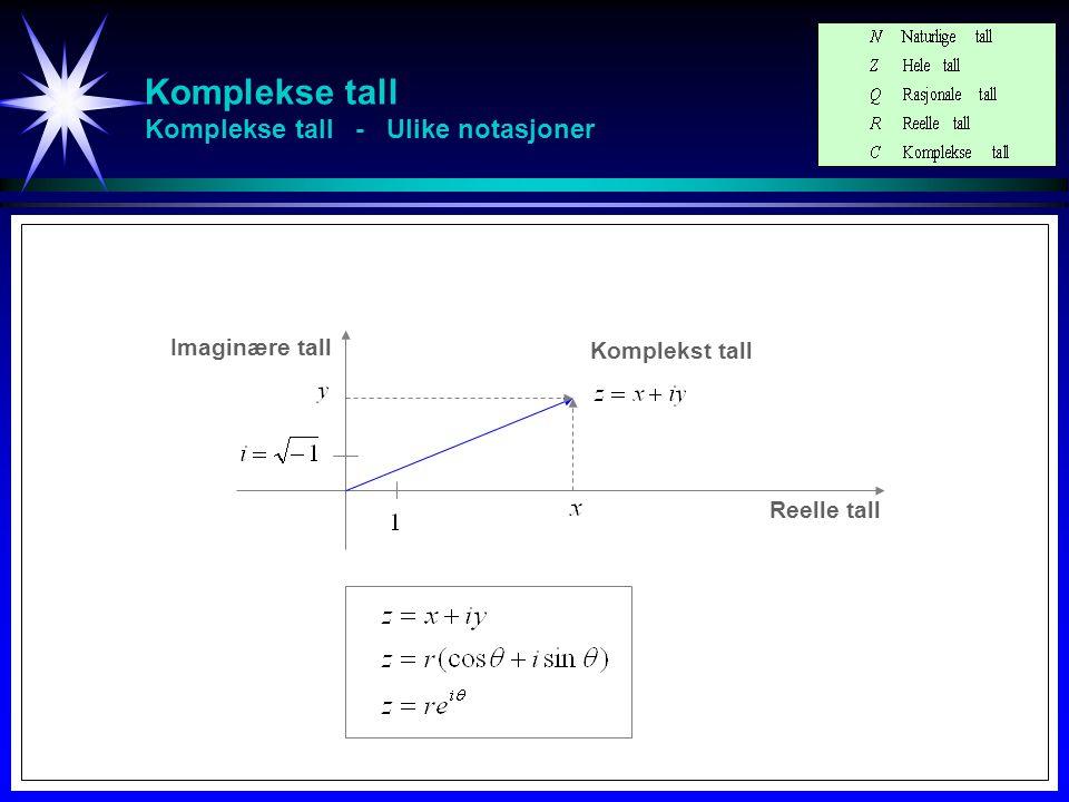 Komplekse tall Komplekse tall - Ulike notasjoner