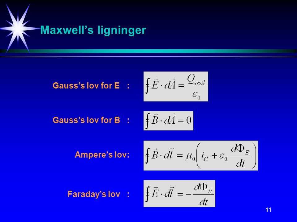 Maxwell's ligninger Gauss's lov for E : Gauss's lov for B :