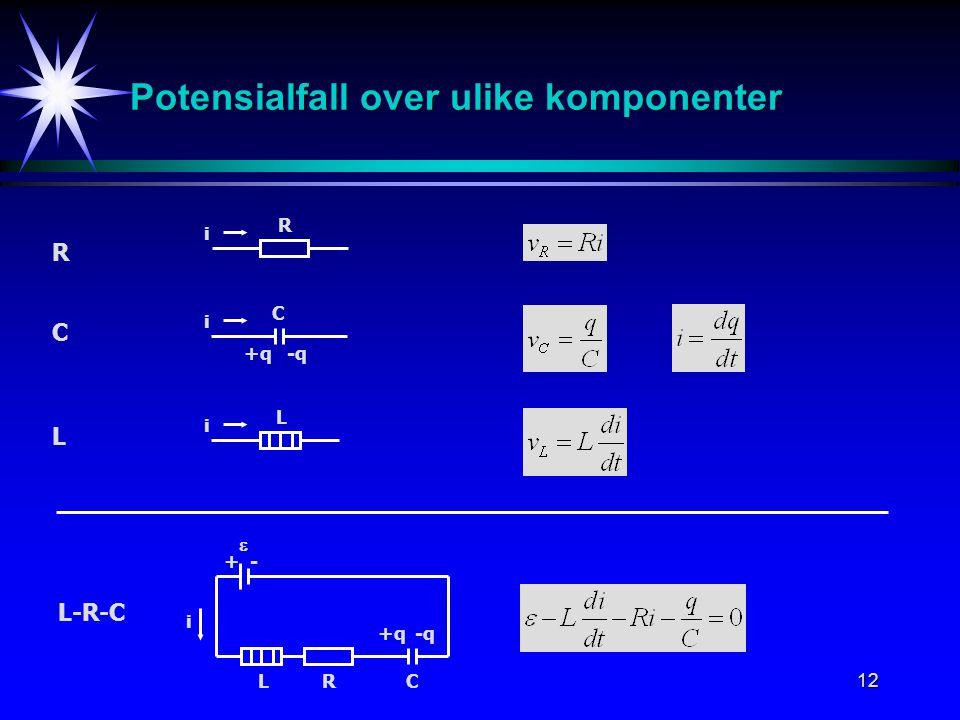 Potensialfall over ulike komponenter