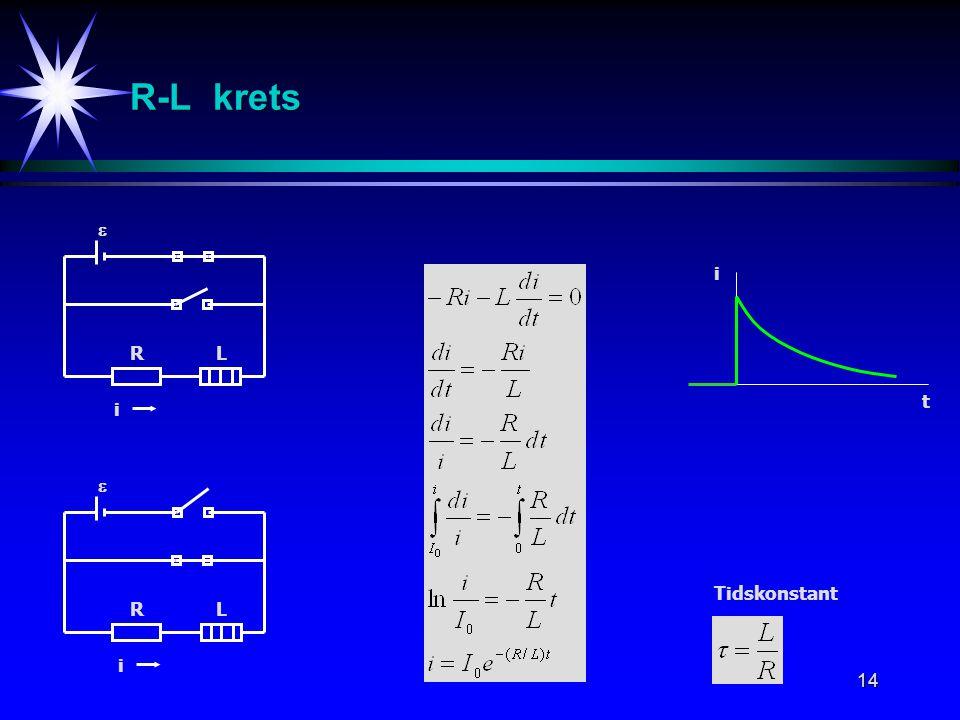 R-L krets  i R L t i  Tidskonstant R L i