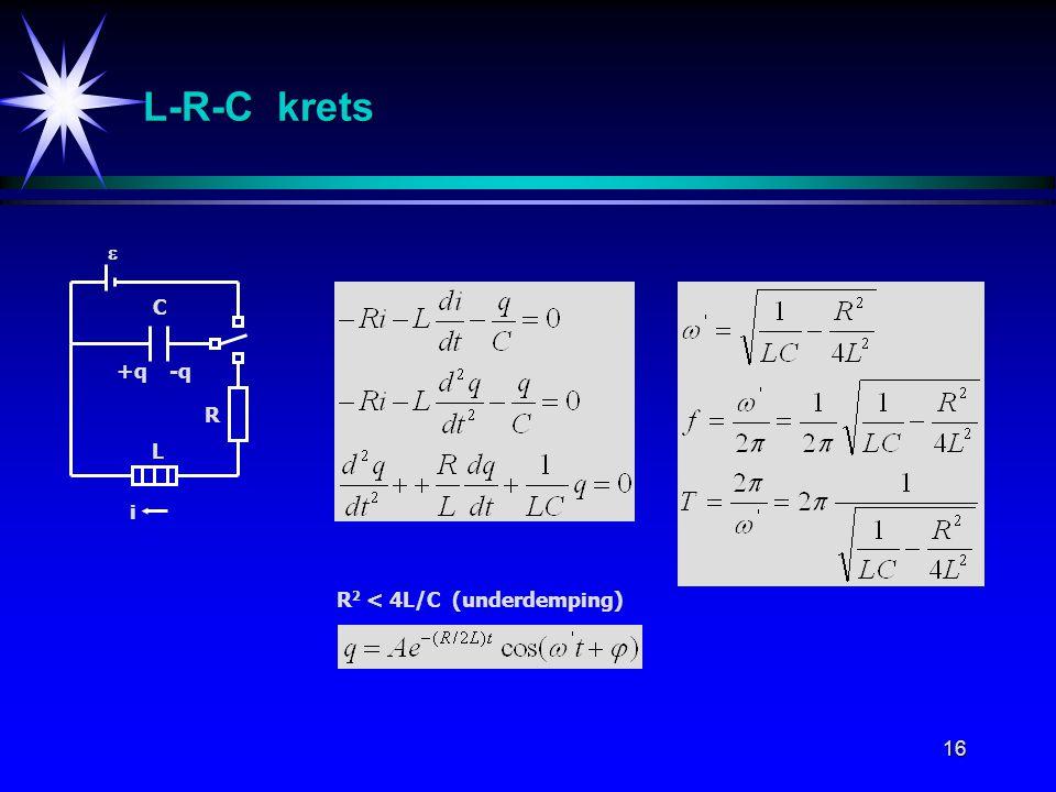 L-R-C krets  C +q -q R L i R2 < 4L/C (underdemping)