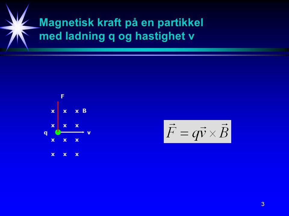 Magnetisk kraft på en partikkel med ladning q og hastighet v