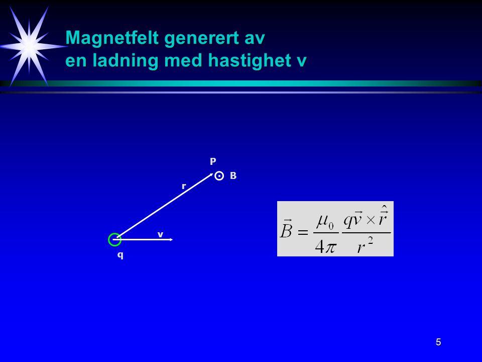 Magnetfelt generert av en ladning med hastighet v