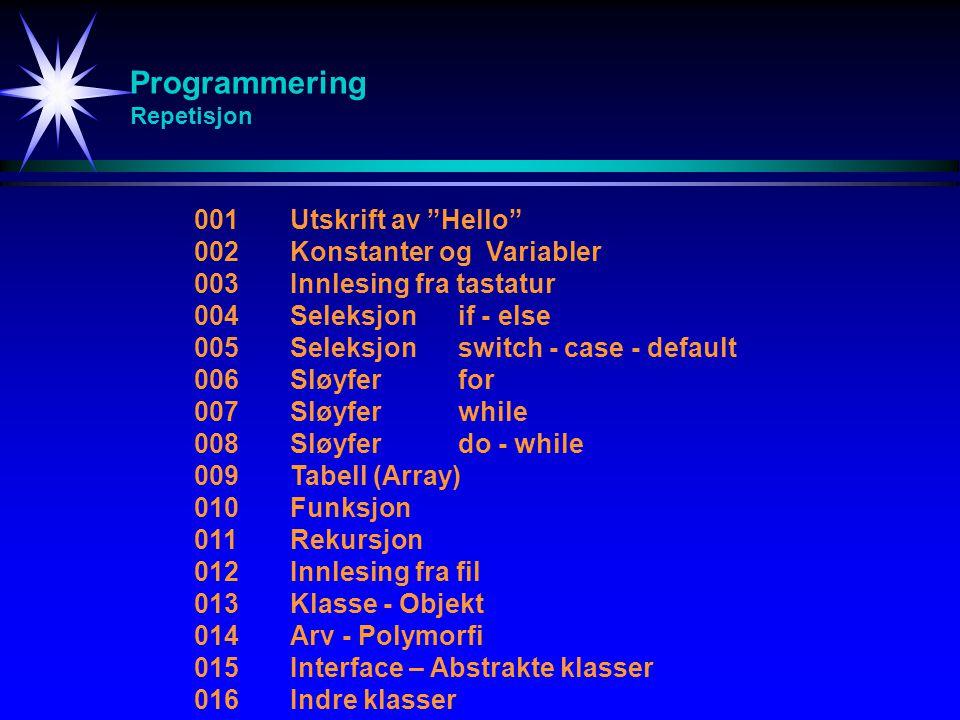 Programmering Repetisjon