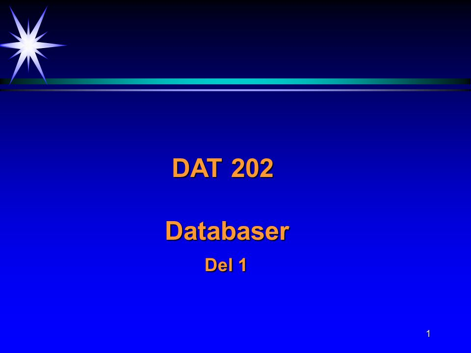 DAT 202 Databaser Del 1