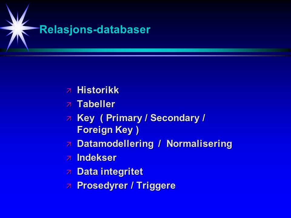 Relasjons-databaser Historikk Tabeller