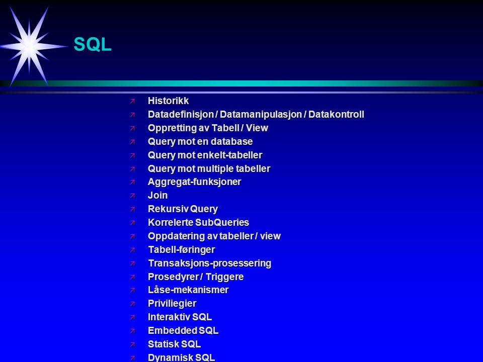 SQL Historikk Datadefinisjon / Datamanipulasjon / Datakontroll