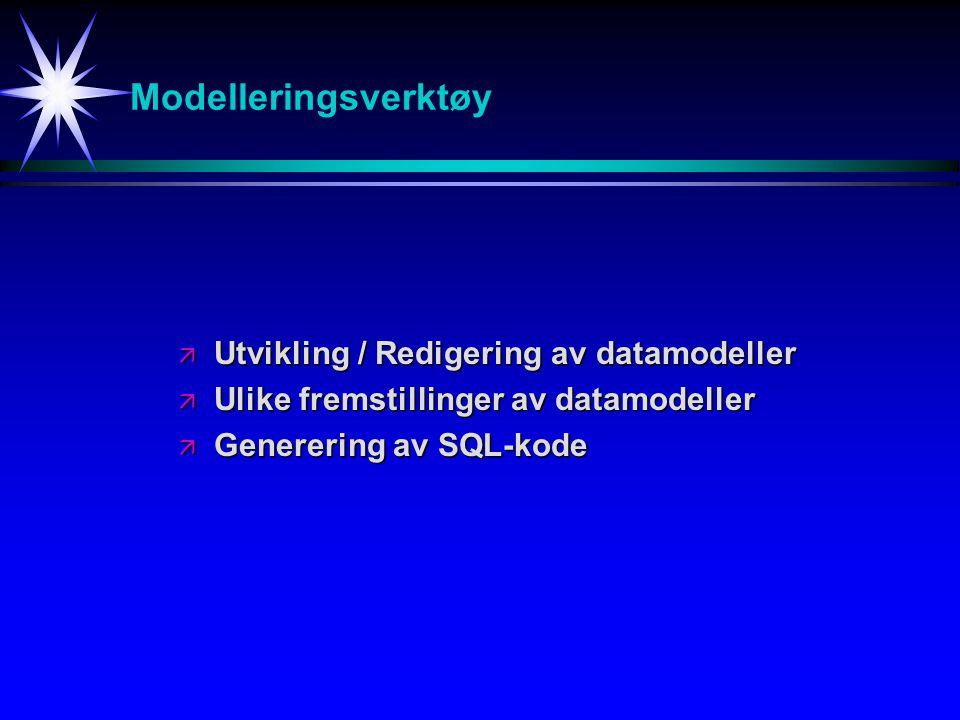 Modelleringsverktøy Utvikling / Redigering av datamodeller