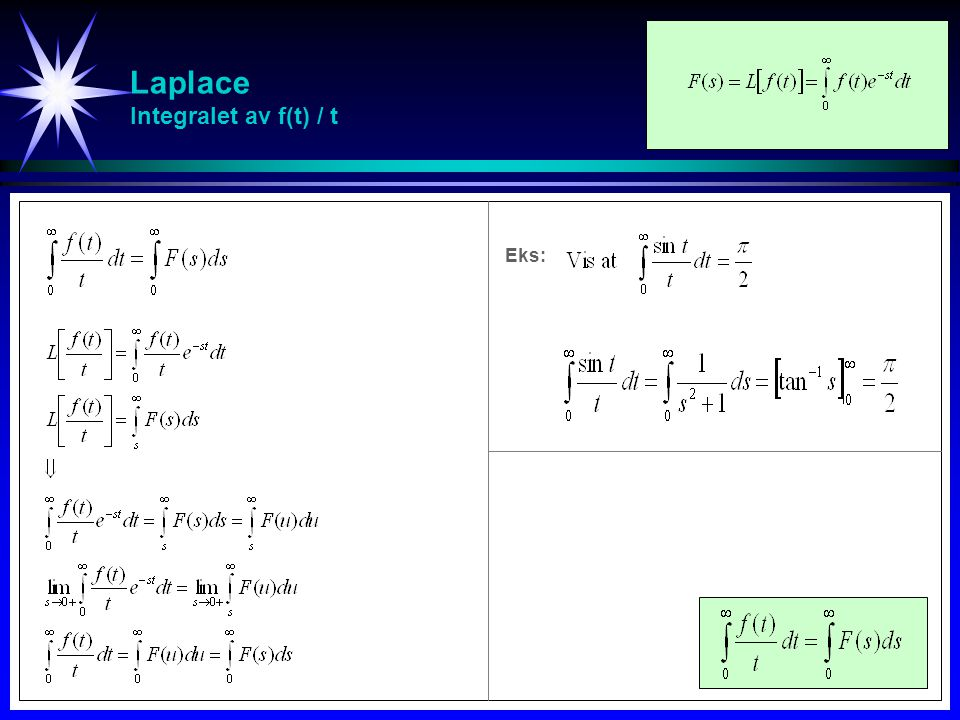 Laplace Integralet av f(t) / t
