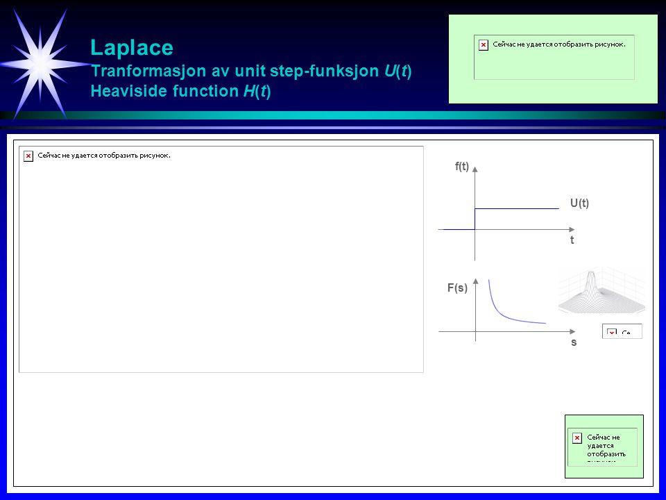 Laplace Tranformasjon av unit step-funksjon U(t) Heaviside function H(t)