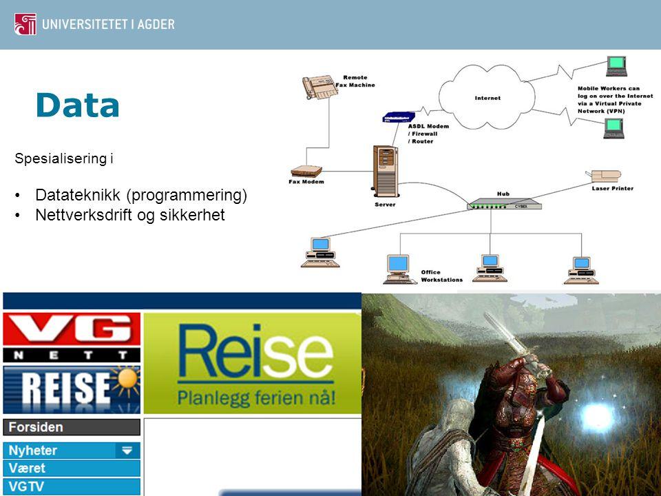 Data Datateknikk (programmering) Nettverksdrift og sikkerhet