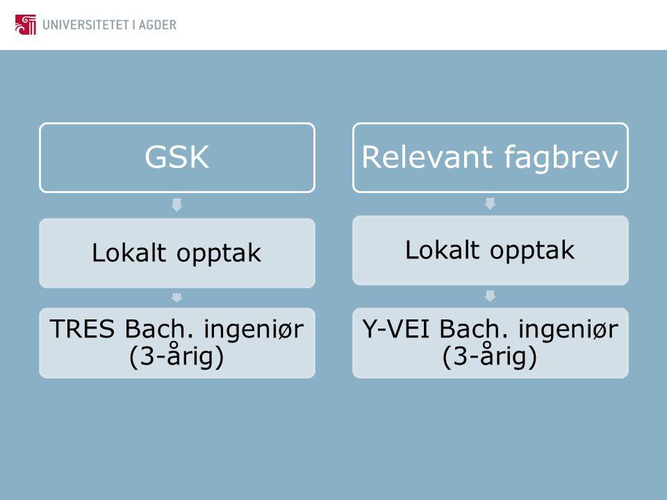 GSK Relevant fagbrev Lokalt opptak TRES Bach. ingeniør (3-årig)