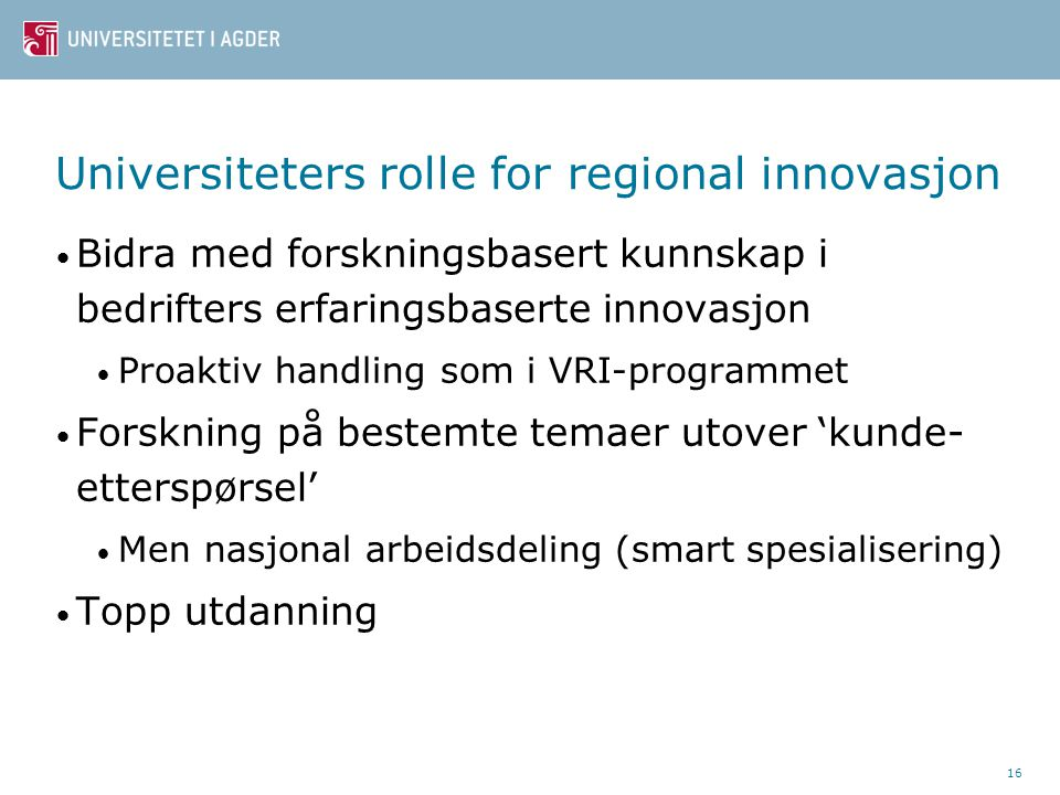 Universiteters rolle for regional innovasjon