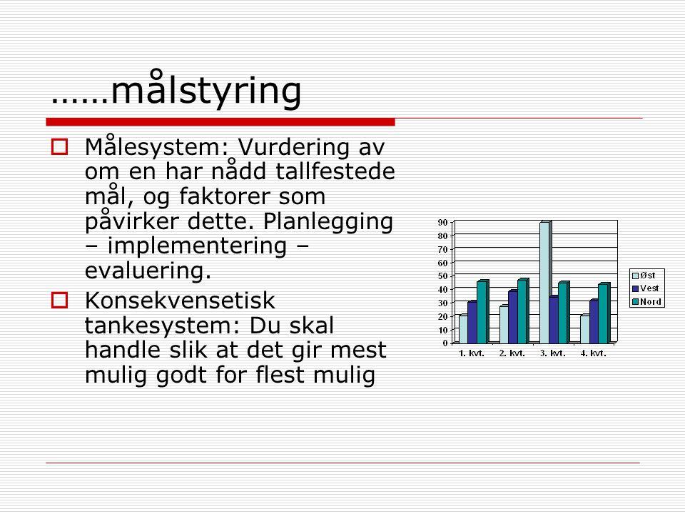 ……målstyring Målesystem: Vurdering av om en har nådd tallfestede mål, og faktorer som påvirker dette. Planlegging – implementering – evaluering.