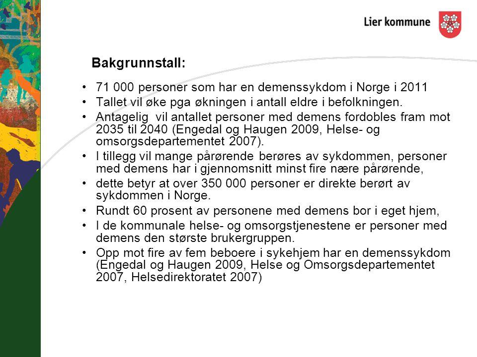 Bakgrunnstall: 71 000 personer som har en demenssykdom i Norge i 2011