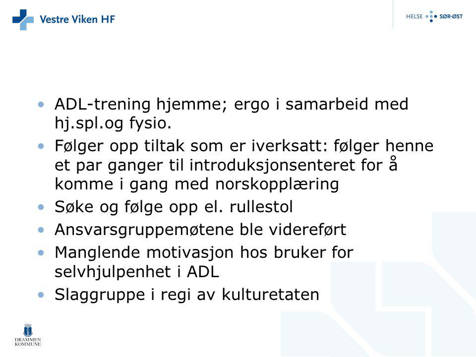ADL-trening hjemme; ergo i samarbeid med hj.spl.og fysio.