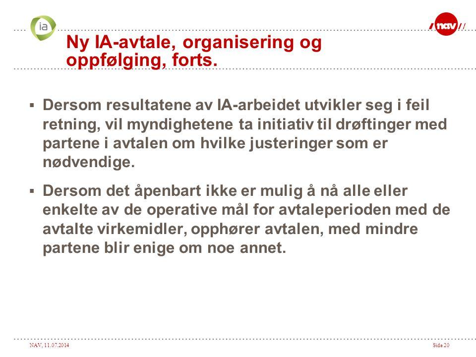 Ny IA-avtale, organisering og oppfølging, forts.