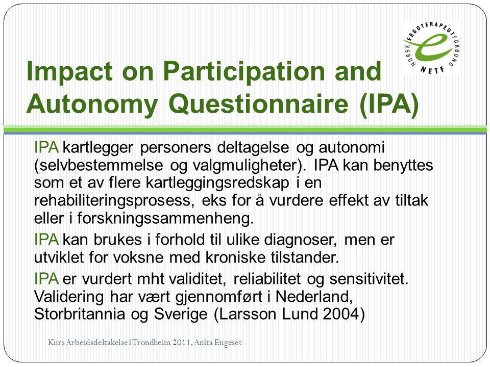 Impact on Participation and Autonomy Questionnaire (IPA)