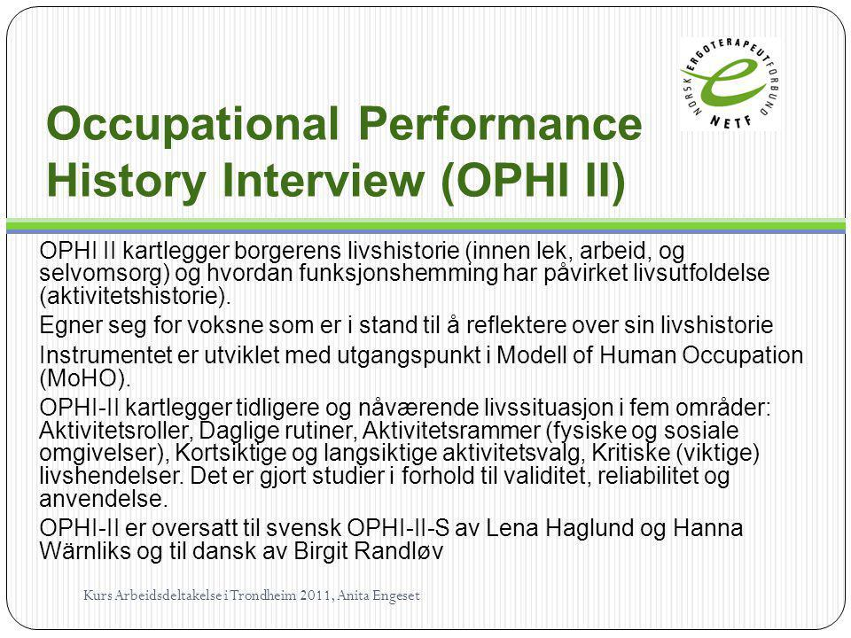 Occupational Performance History Interview (OPHI II)