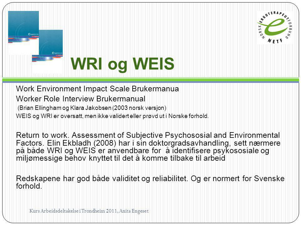 WRI og WEIS Work Environment Impact Scale Brukermanua