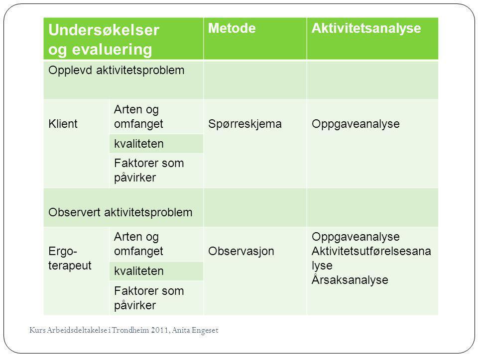 Undersøkelser og evaluering Metode Aktivitetsanalyse