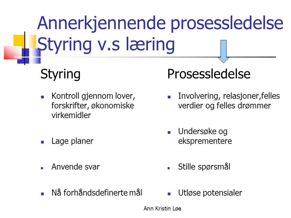 Annerkjennende prosessledelse Styring v.s læring
