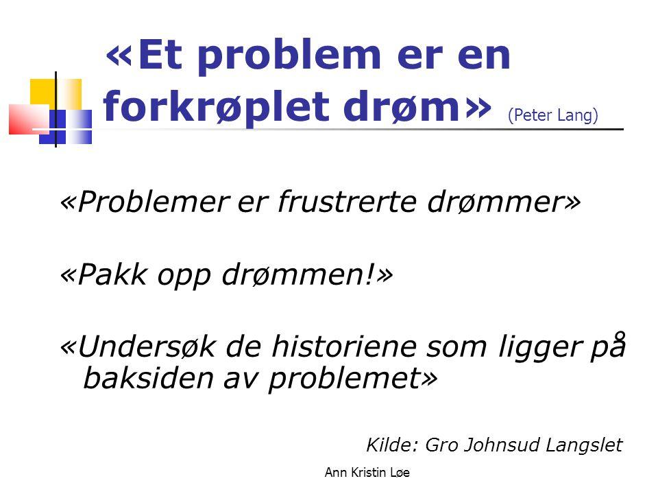 «Et problem er en forkrøplet drøm» (Peter Lang)