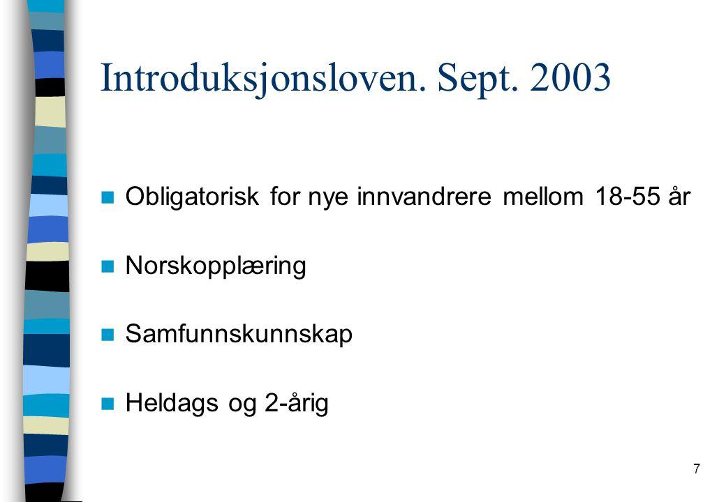 Introduksjonsloven. Sept. 2003