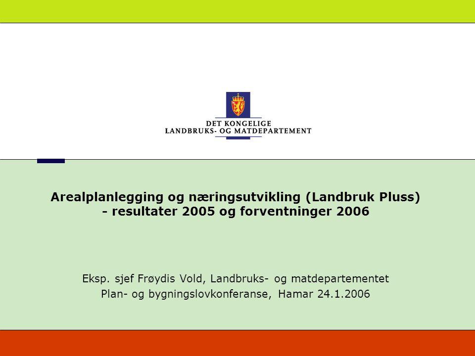 Arealplanlegging og næringsutvikling (Landbruk Pluss) - resultater 2005 og forventninger 2006