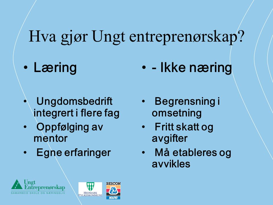 Hva gjør Ungt entreprenørskap