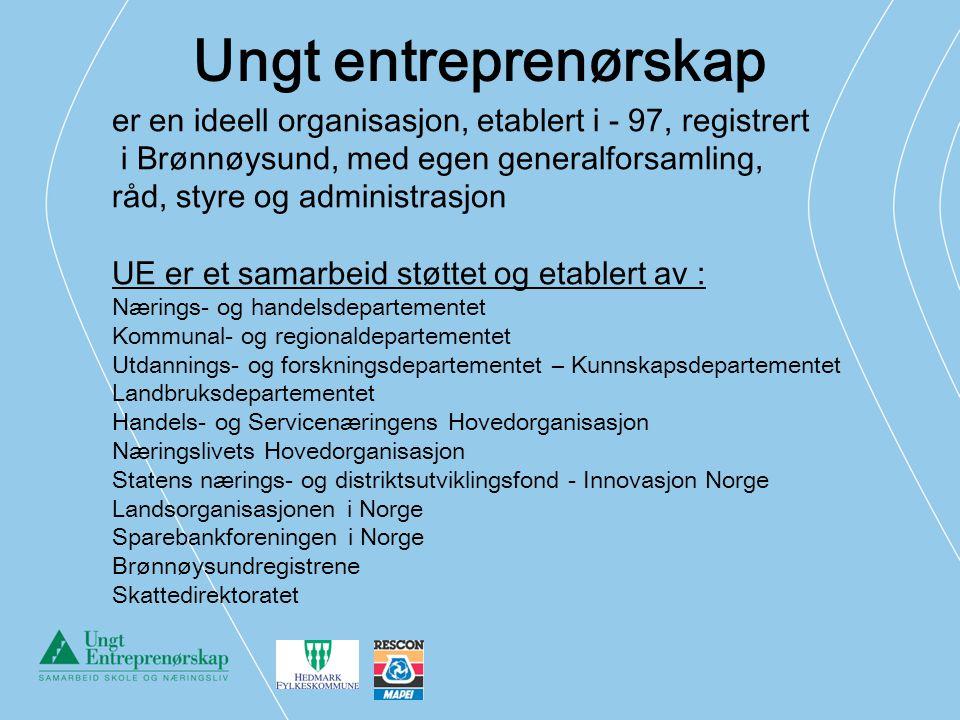 Ungt entreprenørskap er en ideell organisasjon, etablert i - 97, registrert. i Brønnøysund, med egen generalforsamling,