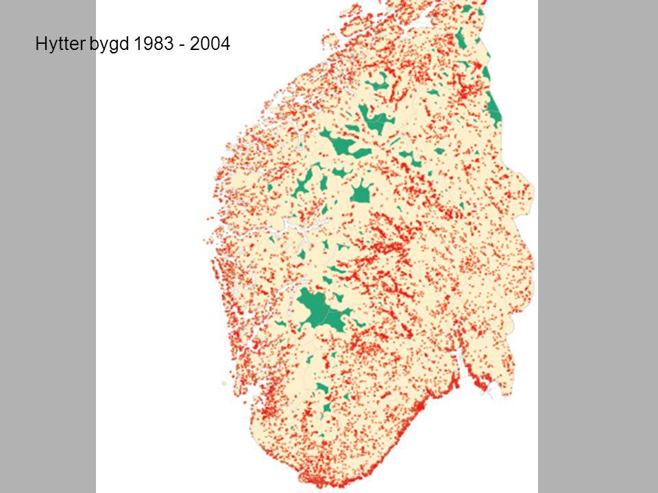 Hytter bygd 1983 - 2004