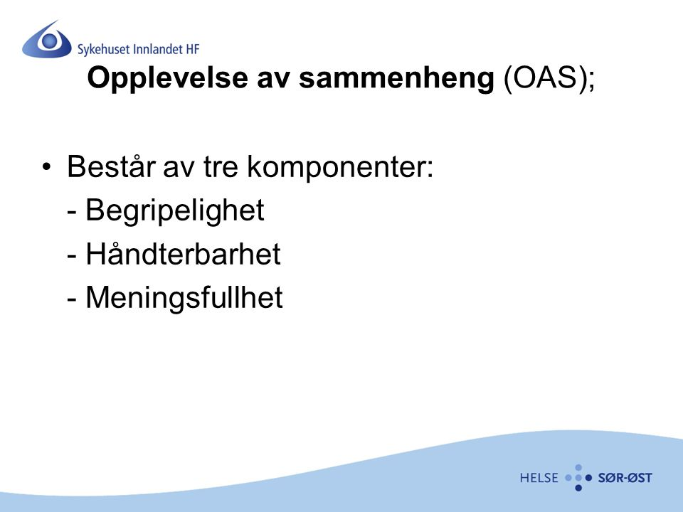 Opplevelse av sammenheng (OAS);