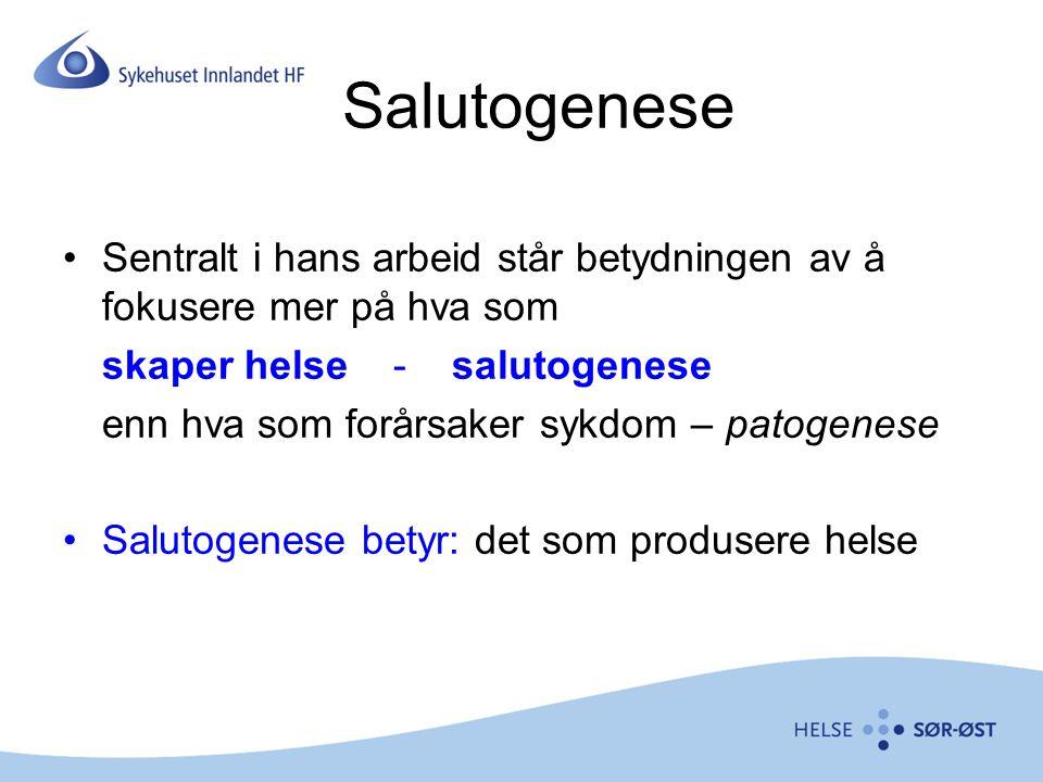Salutogenese Sentralt i hans arbeid står betydningen av å fokusere mer på hva som. skaper helse - salutogenese.