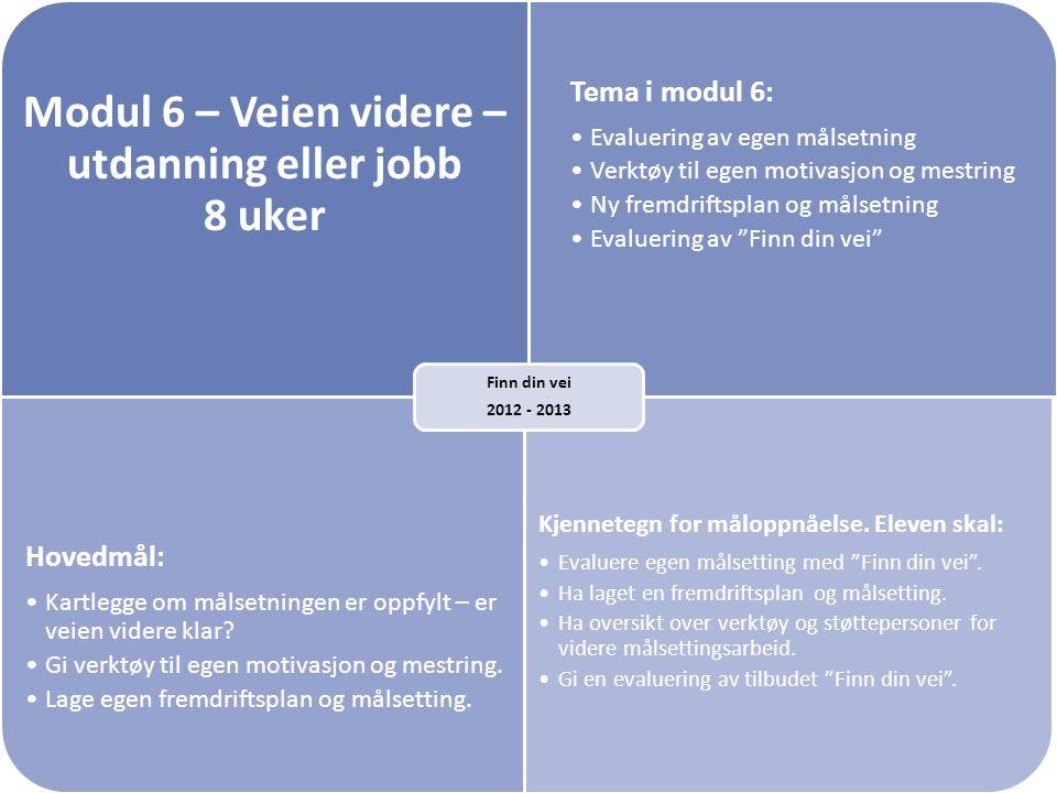 Modul 6 – Veien videre – utdanning eller jobb 8 uker