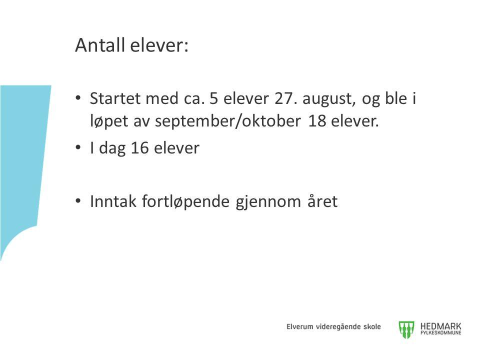 Antall elever: Startet med ca. 5 elever 27. august, og ble i løpet av september/oktober 18 elever. I dag 16 elever.