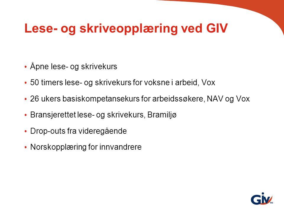 Lese- og skriveopplæring ved GIV