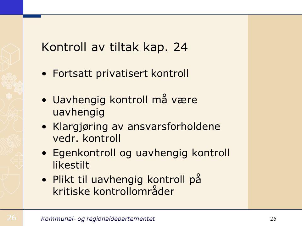 Kontroll av tiltak kap. 24 Fortsatt privatisert kontroll