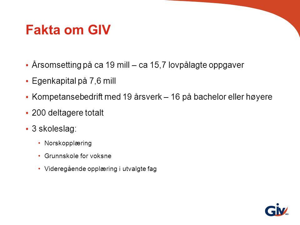 Fakta om GIV Årsomsetting på ca 19 mill – ca 15,7 lovpålagte oppgaver