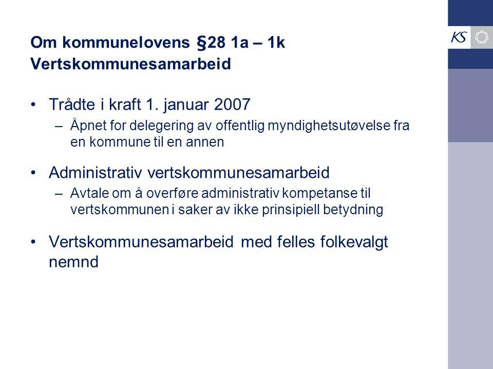 Om kommunelovens §28 1a – 1k Vertskommunesamarbeid