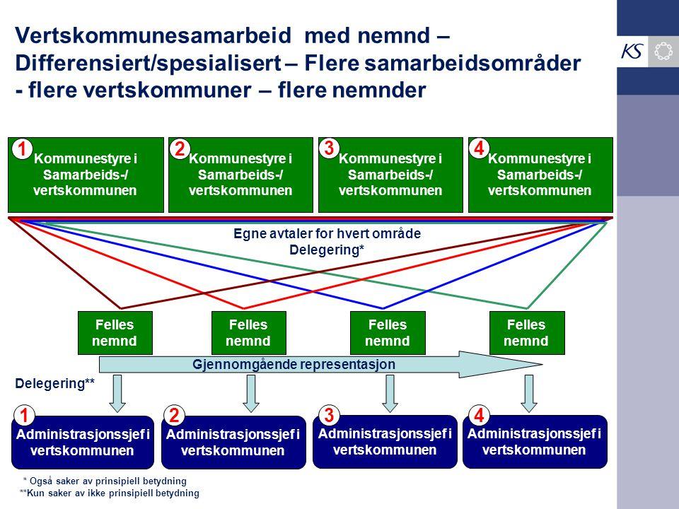 Vertskommunesamarbeid med nemnd – Differensiert/spesialisert – Flere samarbeidsområder - flere vertskommuner – flere nemnder