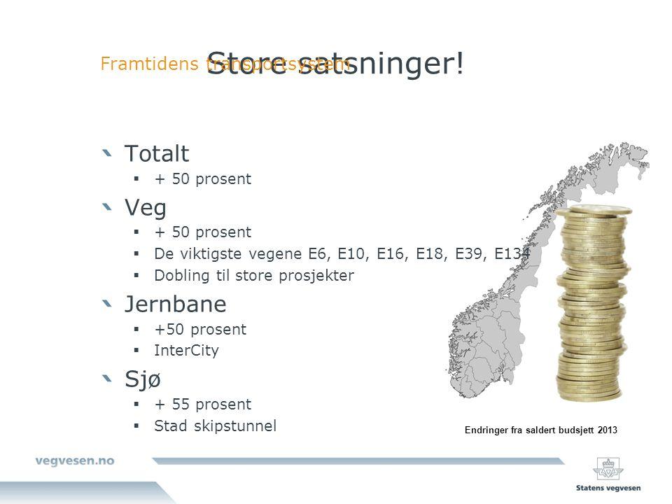 Store satsninger! Totalt Veg Jernbane Sjø Framtidens transportsystem