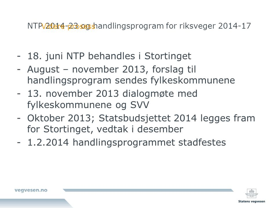 NTP og handlingsprogram for riksveger