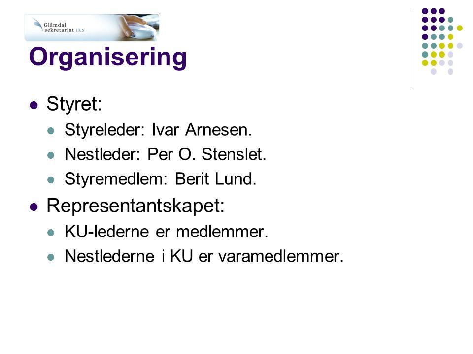 Organisering Styret: Representantskapet: Styreleder: Ivar Arnesen.
