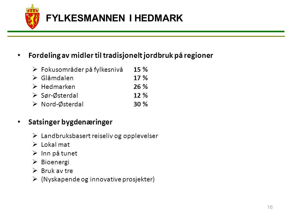 Fordeling av midler til tradisjonelt jordbruk på regioner